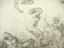Grabado c1874 La caída de Phaeton ap Michel ángel Fac Símil de M Baudran