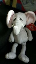 """Russ Elephant With Tags Grey Elephant With Lovely Detail Standing At 16"""" Approx"""