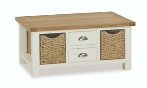 Hampshire Cream Painted Oak Large Coffee Table / Basket Storage Occasional Table