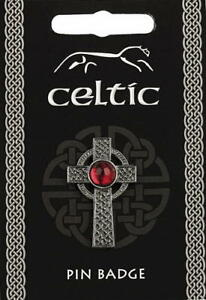 Celtic Interlaced Cross With Red Gem Pewter Lapel Pin Badge