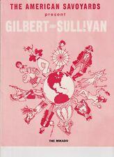 The MIKADO Program c.1950's American Savoyards Gilbert & Sullivan