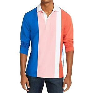 MSRP $55 Club Room Mens Rugby Polo Shirt Pink Colorblock Striped Pink Size XXL