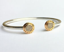 PANDORA Signature Open Bangle With 14k Gold Plating 590528cz Authentic 17.5 Cm