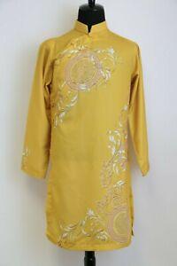 Ao Dai Nam Cach Tan,Vietnamese Traditional Dress for Men, Mustard w Gold Coins