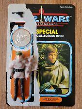 1984 Star Wars Power of Force Luke Skywalker Battle Poncho Figure Gun Card Coin