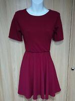 Boohoo Womens Burgundy Berry Open Back Stretch Skater Dress Size 14 BNWT
