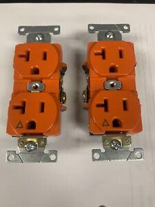 (5 Pack) Leviton 5362-IG 20A 125V duplex Receptacle, Isolated Ground, Orange