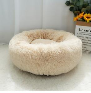 Luxury Small Beige Warm Fluffy Pet Bed Dog Puppy Kitten Fur Donut Cushion 50cm