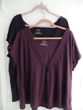 Old NavyPlus Size Womans Sleeveless Pleated V Neck Front Black & Purple Tops 3X