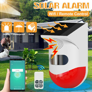 Outdoor Solar Power Alarm WIFI or Remote Control Security Motion Sensor Detector