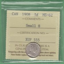 1908 Canada 5 Cents Silver Coin - Small 8 - ICCS Graded MS-62