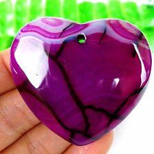 Beautiful Purple and Black Dragon Veins Agate Peach Heart Pendant Bead AT16712