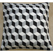 "NEW 24"" Large Cushion Cover Geometric Modern Retro Funky Black White Grey Cubes"