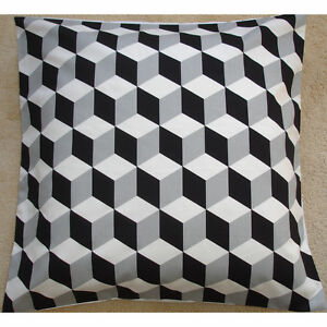 "24"" Cushion Cover Black Geometric Modern Retro Funky White Grey Cubes 24x24"