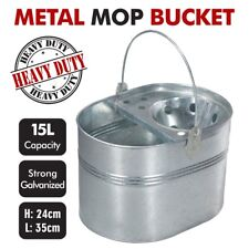 Vintage Galvanised Metal Pail Heavy Duty Mop Bucket 15L Durable Wringer Steel