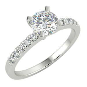 0.58 Ct Round Cut SI2/D Solitaire Pave Diamond Engagement Ring 14K White Gold