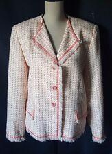 Bob Mackie Studio Womens sz 16 BLAZER/JACKET Frayed Ends Lined Tweed  Pink white