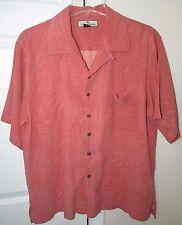 Tommy Bahama 100% Silk Hawaiian Camp Light Red Shirt Fern Design Medium EUC