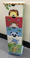 Kids Chest of Drawers Cabinet Tall Highboy Dresser Cheerful Zoo Safari Animals