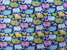 100% Cotton Fabric  FQ- ELEPHANTS