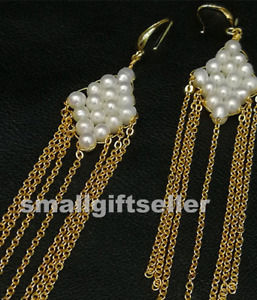 white cultured freshwater pearl Earrings 18x100mm 14k filled gold