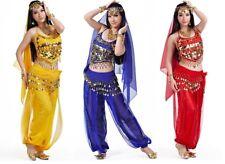 3 Filas Danza Del Vientre Hip Bufanda Envolvente Cinturón Bailarín Falda Traje Monedas Todos Los Colores * Bly