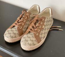 Michael Kors Monogram Signature Logo Brown Sneaker Tennis Shoes Size 9.5M Nwt