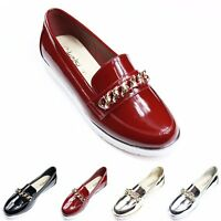 Ladies Womens Chain Flat Chunky Sole Loafers Slip On Brogue Pumps Comfy Shoes