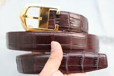 Dark Brown Genuine Alligator CROCODILE BELT Skin Leather Men's - W 1.3''