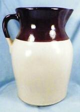 Antique McCoy Pitcher Brown White Stoneware Large A Beauty