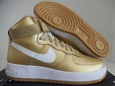 NIKE AIR FORCE 1 HI HIGH RETRO QS METALLIC GOLD-WHITE SZ 8.5 [823297-700]