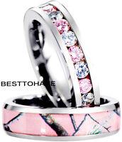 NEW  ! Ladies Pink Full Eternity Cz Band & Pink Camo Titanium Wedding Band Set