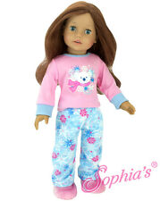 "2 Piece Polar Bear Pajamas & Fur Slippers PJ's fits 18"" American Girl Doll"