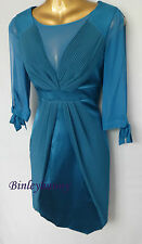 NEW KAREN MILLEN Teal Bodycon Dress BNWT UK 8 Pleated Satin Silk Wiggle DN243