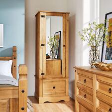 Corona Pine Armoire Wardrobe 1 Door Mirrored 1 Storage Drawer Solid Wood