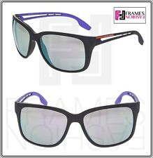 c91fdfe92415 PRADA LINEA ROSSA PS03TS Matte Grey Lilac Rubber Mirrored Sport Sunglasses  03T