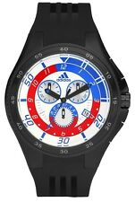 NEW ADIDAS BLACK POLYURETHANE BAND BLUE,RED,WHITE DIAL CHRONO WATCH-ADP4033