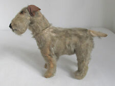 Antique  Mohair Terrier Dog with Glass Eyes and Turnable Head
