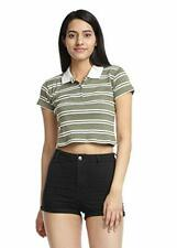 Olive & White Ribbed Striped Crop Polo T-shirt for Women