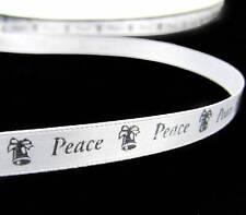 "Sale ! - 10 Yards Christmas White Silver Peace Bells Satin Ribbon 3/8""W"