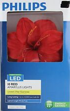Philips 10 Red Amaryllis String Lights Indoor Use Only 9 ft Lighted Length NIB