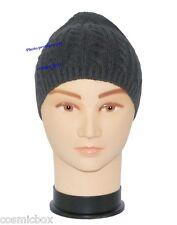 BONNET classique homme hiver noir uni 100% acrylique taille unique new black hat