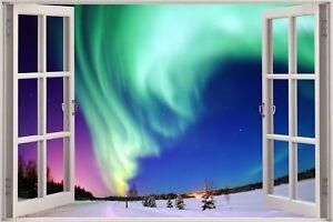 Cheap 3D Window view Aurora Northern Lights Wall Sticker Art Decal Wallpaper S5
