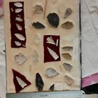 Indian Artifacts Arrowheads With Case 12in By 16in