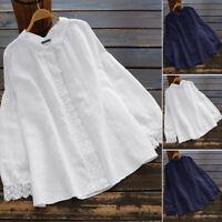 Belle Femme Coton Patchwork de dentelle Manche Longue Revers Chemise Tops Plus