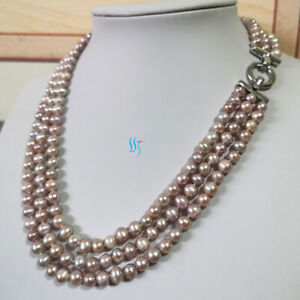 """20-22"""" 6-8mm Lavender 3row Freshwater Pearl Necklace Strand Necklace A"""