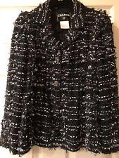 Chanel 06P JACKET TWEED TULLE BLACK BLUE ECRU BOWS GOLD CC buttons FR36-FR38 $7K
