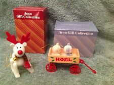 AVON Christmas Ornaments set  2~Teddies on Wagon & Belvedeer, The Xmas Reindeer