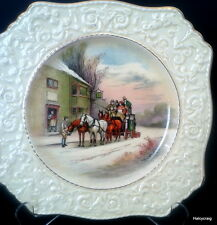"Royal Winton Grimwades Horse & Carriage Christmas Scene Ascot Cake 9 7/8"" Plate"