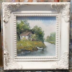 Cottage miniature 3x3 framed original oil painting Celene Farris Maine. mini